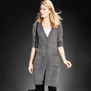 EILEEN FISHER Gray Long V-Neck Cardigan #AY8
